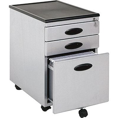 Studio RTA® 3 Drawer Vertical Mobile File Cabinet; Silver