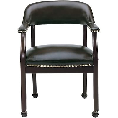 Boss® Captains Guest Armchair; With Casters, Black