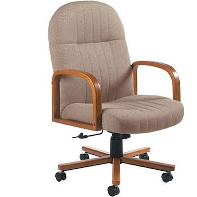 Global® Mid-Back Manager Chair with Wooden Oak Arms; Brown