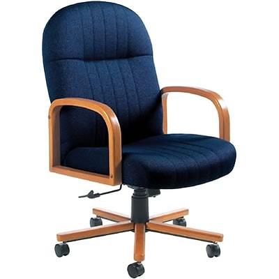 Global® Mid-Back Manager Chair with Wooden Oak Arms; Blue
