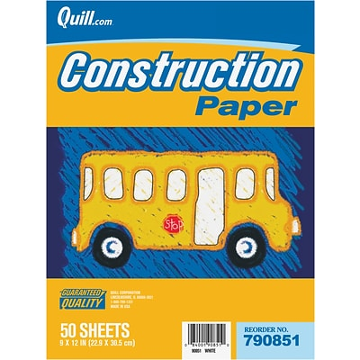 Quill Brand® Construction Paper; Yellow, 9x12, 50 Sheets