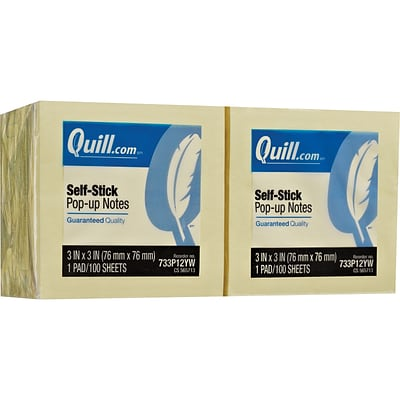 Quill Brand® Self-Stick Pop-Up Notes; 3 x 3, Yellow, 12 Pack