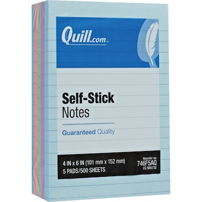 "Quill Brand® Self-Stick Sticky Flat Notes; 4"" x 6"", Coastal Pastel Colors, Lined, 5 Pack"