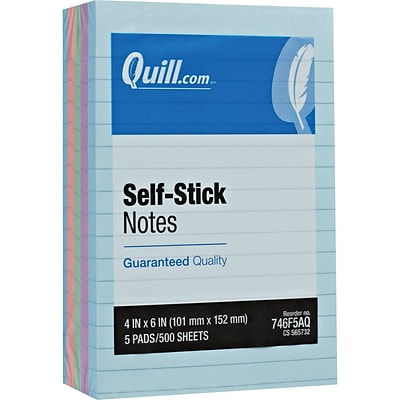 Quill Brand® Self-Stick Sticky Flat Notes; 4 x 6, Coastal Pastel Colors, Lined, 5 Pack