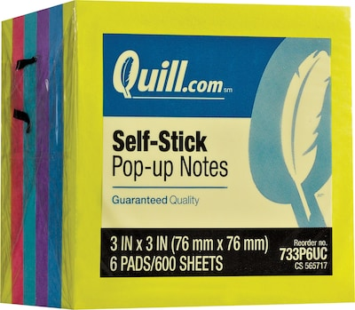 "Quill Brand® Self-Stick Pop-Up Notes; 3"" x 3"", Mega Colors, 6 Pack"