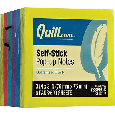 Quill Brand® Self-Stick Pop-Up Notes, 3 x 3, Mega Colors, 100 Sheets/Pad, 6 Pads/Pack (733P6UC)