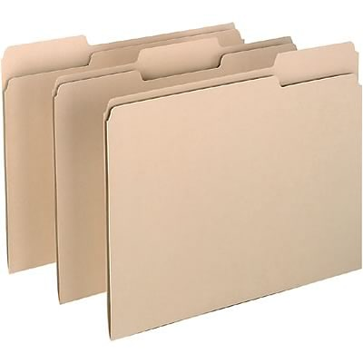 Quill Brand® Heavy-Duty Manila File Folders; 14pt Heavy-weight, 2-Ply, 1/3-Cut Assorted Tabs, Letter Size, 100/BX