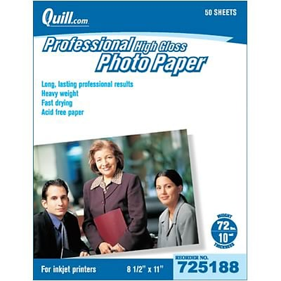 Quill Brand® Premium Photo Paper for Inkjet Printers; 8.5 x 11, Glossy, 50 Sheets Per Pack