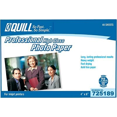 Quill Brand® Premium Photo Paper for Inkjet Printers; 4x6; High Gloss, 40 Sheets Per Pack