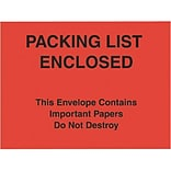 Self-Adhesive 7x6 Red Paper Face P/L Enclosed/This Package Contains... Packing List Envelopes