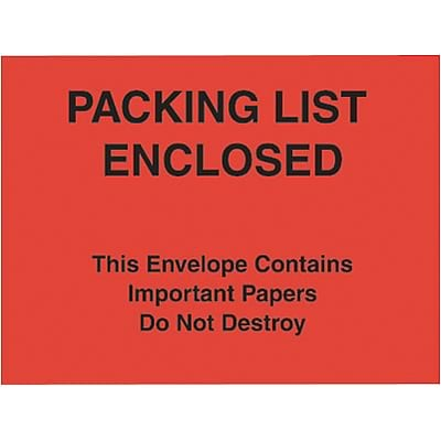 Self-Adhesive P/L Enclosed/This Package Contains... Packing List Envelopes; Red Paper Face, 7x6, 1000/BX