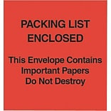 Self-Adhesive 5x6 Red Paper Face P/L Enclosed/This Package Contains... Packing List Envelopes