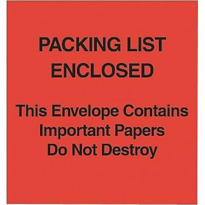 Self-Adhesive P/L Enclosed/This Package Contains... Packing List Envelopes; Red Paper Face, 5x6, 1000/BX