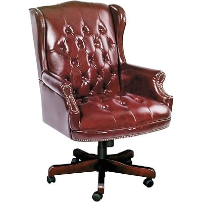 Boss® Oxblood Vinyl Tufted Executive Chair With Swivel Base