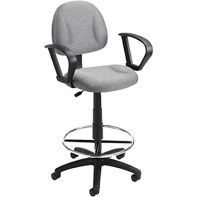 Boss® Deluxe Posture Drafting Stool with Swivel Base; Grey