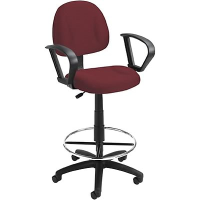 Boss® Deluxe Posture Drafting Stool with Swivel Base; Burgundy