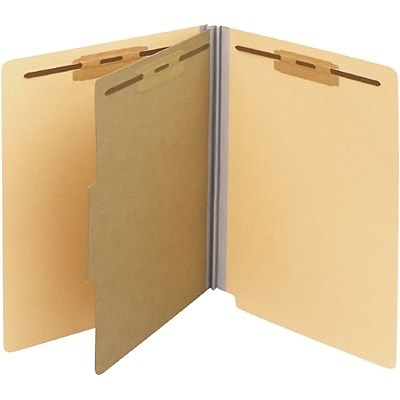 Medical Arts Press® 2 Fastener End-Tab Colored Classification Folders w/1-Divider; 15/Bx, Manila
