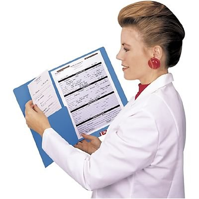Medical Arts Press® Colored End-Tab Fastener Folders; Half Pocket with Fasteners, 11 Pt., Blue