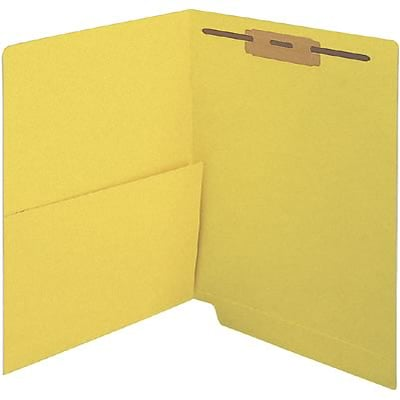 Medical Arts Press® Colored End-Tab Fastener Folders; Half Pocket with Fasteners, 11 Pt., Yellow