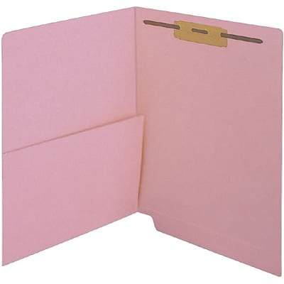 Medical Arts Press® Colored End-Tab Fastener Folders; Half Pocket with Fasteners, 11 Pt., Pink