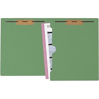 Medical Arts Press® Colored End-Tab Full-Pocket Folders with 2 Fasteners; Green