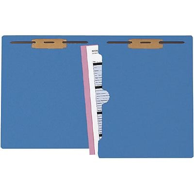 Medical Arts Press® Colored End-Tab Fastener Folders; Full-Pocket with 2 Fasteners, Blue