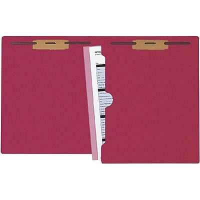 Medical Arts Press® Colored End-Tab Fastener Folders; Full-Pocket with 2 Fasteners, Red
