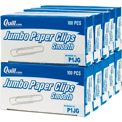 Quill Brand® Paper Clips; Jumbo Smooth; 1-3/4, 10000/Carton