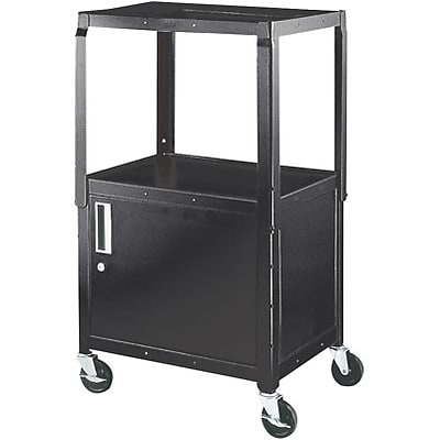 H. Wilson® Extra-Strong Colored Metal Utility Carts with Cabinets; Black