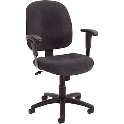 Lincolnshire Seating B495 Series Fabric Task Chair With Adjustable Arms; Black