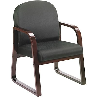 Lincolnshire Seating B9570 Series Mahogany Frame Guest Armchair; Black