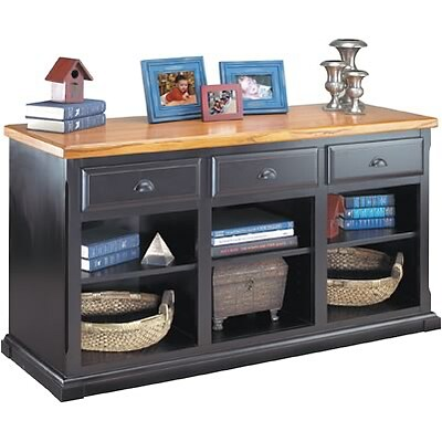 Martin Furniture Southhampton Cottage Collection in Black Onyx/Oak; 3-Drawer Console