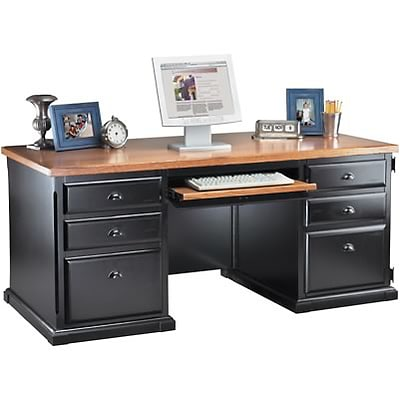 Martin Furniture Southhampton Cottage Collection in Black Onyx/Oak; Deluxe Executive Computer Desk