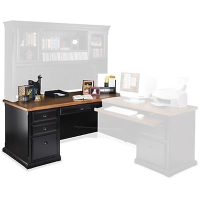 Martin Furniture Southhampton Cottage Collection; Black Onyx/Oak, L-Shape Desk for Right-Hand Retrn