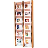 Wooden Mallet 48H 12-Pocket Oak/Acrylic Literature Display