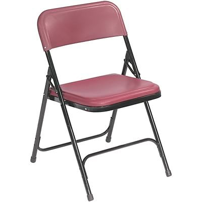 NPS #818 Premium Light-Weight Plastic Folding Chairs, Burgundy/Black - 4 Pack