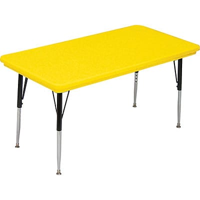 Correll® 24D x 48L Rectangular Heavy Duty Plastic Activity Table; Yellow Top