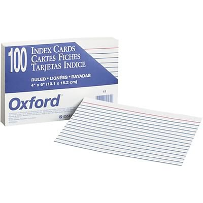 Oxford® Index Cards; 4x6, Ruled, White, 6000/Carton