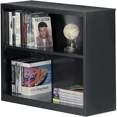 Sandusky Metal Stationary Bookcase in Black; 30, 2-Shelves