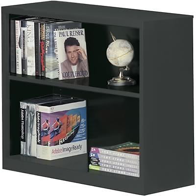 Sandusky Metal Stationary Bookcase in Charcoal; 30, 2-Shelves