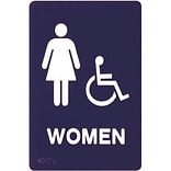 Premium Standard Message ADA Braille Signs; Women Handicap
