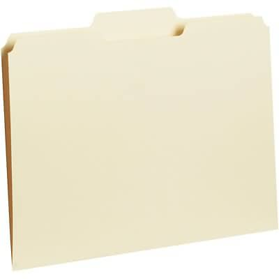 Quill Brand® Standard 3-Tab Recycled Colored Interior File Folders, Letter, Manila, 100/Bx (7391MN)