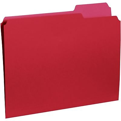 Quill Brand® Colored Recycled Interior Folders; 1/3-Cut Tabs, Letter Size, Red, 100/BX