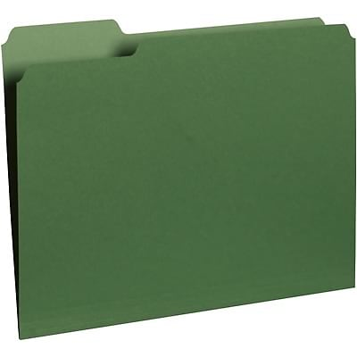 Quill Brand® Colored Recycled Interior Folders; 1/3-Cut Tabs, Letter Size, Bright Green, 100/BX