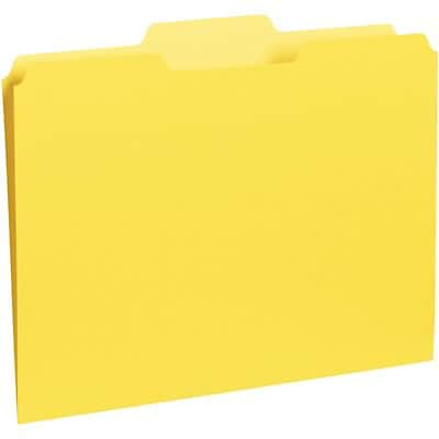Quill Brand® Colored Recycled Interior Folders; 1/3-Cut Tabs, Letter Size, Yellow, 100/BX