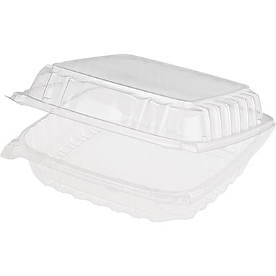 Dart® Clearseal™ Hinged Lid Plastic Container; Large, 200/Case