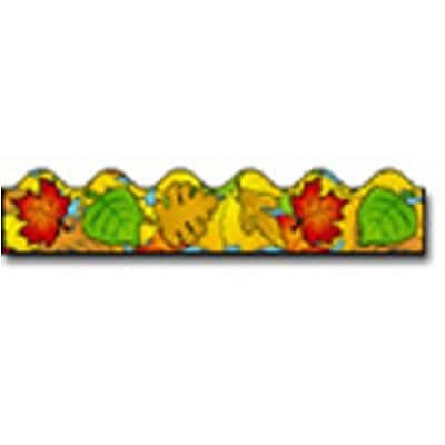 Colored Leaves Scalloped Border