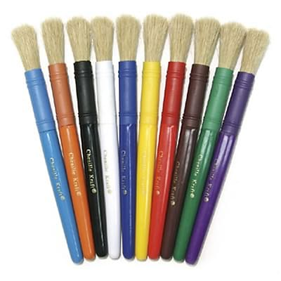 Paint Brush, Stubby, White Bristle with Assorted Colored Handles, Set of 5