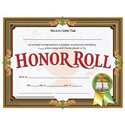 Hayes Honor Roll Certificate, 8.5 x 11, Pack of 30 (H-VA612)