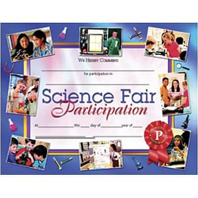 Science Fair Participation Award, 8-1/2 x 11, 30/pkg